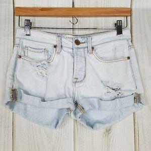 Bullhead   Girlfriend Fit Light Blue Button Shorts